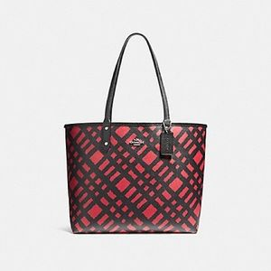 Coach F22247 Reversible Tote with Plaid Print